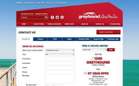 Screenshot of Contact Page greyhound.com.au - Contact Us - captured Oct. 30, 2014