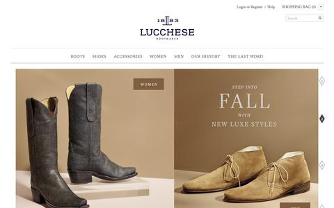Screenshot of Home Page lucchese.com - Lucchese Boots: Luxury boots and shoes handmade in Texas since 1883 - captured Sept. 25, 2014