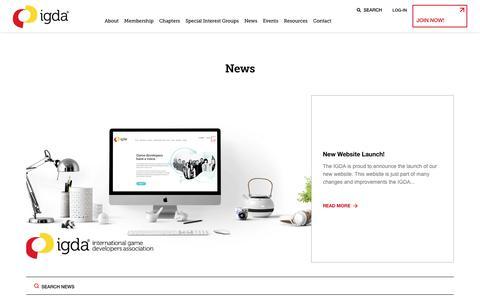 Screenshot of Press Page igda.org - News – IGDA - captured Dec. 11, 2019