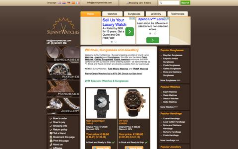 Screenshot of Home Page sunnywatches.com - Casio Watches, Guess Jewellery, Oakley Sunglasses and more! - captured Oct. 9, 2015