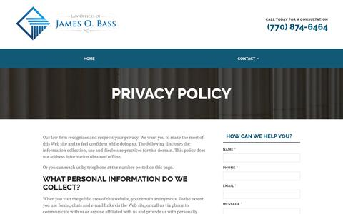 Screenshot of Privacy Page bbandslaw.com - Privacy Policy | Bass Law - captured Nov. 13, 2018