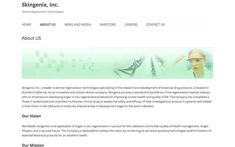 Screenshot of About Page skingenixweb.com - About US | Skingenix, Inc. - captured Nov. 2, 2014
