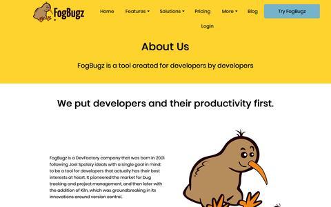 Screenshot of About Page fogbugz.com - About FogBugz - captured Dec. 6, 2018