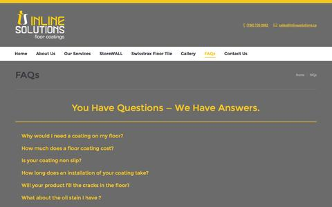 Screenshot of FAQ Page inlinesolutions.ca - You Have Questions — We Have Answers. - captured Feb. 11, 2016
