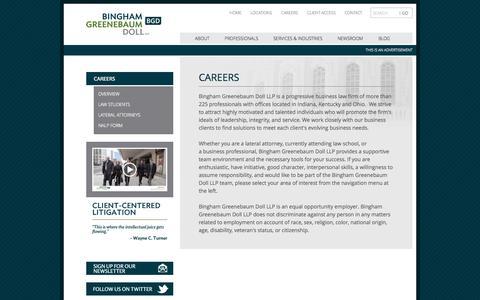 Screenshot of Jobs Page bgdlegal.com - Careers | Bingham Greenebaum Doll LLP - captured Oct. 1, 2014