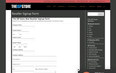 Screenshot of Signup Page theispstore.com - Reseller Signup Form - The ISP Store - captured Dec. 23, 2016