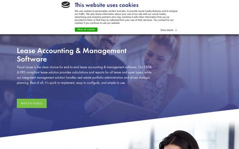 Screenshot of Home Page visuallease.com - Lease Accounting & Management Software - captured Sept. 20, 2018