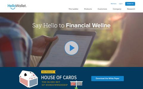 Screenshot of Home Page hellowallet.com - Employee Financial Wellness Program | HelloWallet - captured Jan. 14, 2015