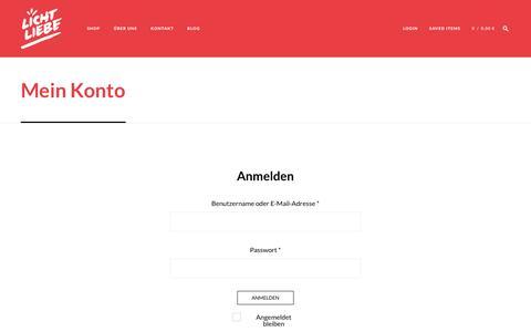 Screenshot of Login Page lichtliebe.de - Lichtliebe - Mein Konto - Jetzt registrieren und Designleuchten shoppen! - captured Nov. 7, 2016