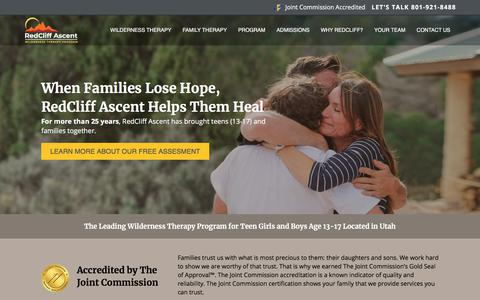 Screenshot of Home Page redcliffascent.com - Wilderness Therapy Programs for Troubled Teens Aged 13–17 - captured Dec. 8, 2019
