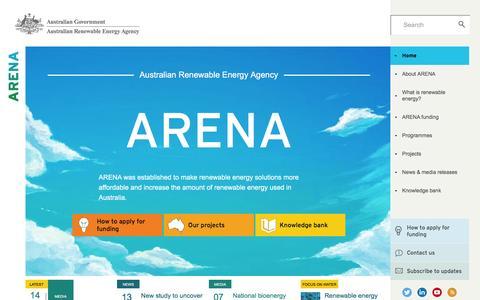Screenshot of Home Page arena.gov.au - Home   Australian Renewable Energy Agency - captured Jan. 17, 2016