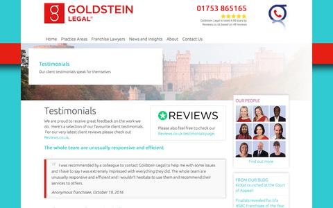 Screenshot of Testimonials Page goldsteinlegal.co.uk - Goldstein Legal Reviews | Client Testimonials - captured May 21, 2017