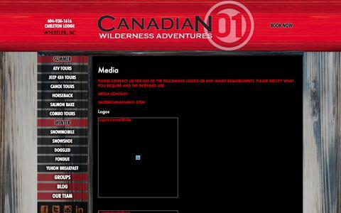 Screenshot of Press Page canadianwilderness.com - Media - Canadian Wilderness Adventures - captured Oct. 1, 2014