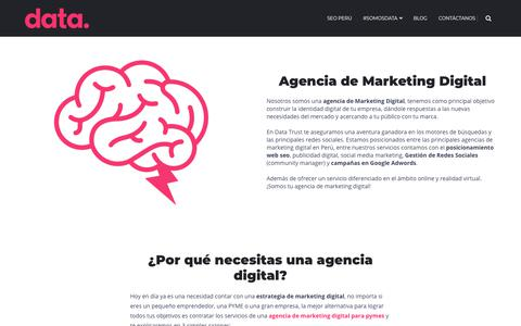 Screenshot of Home Page datatrust.pe - Agencia de Marketing Digital en Lima | Diseño Web, SEO y Social Media ✓ - captured April 16, 2018
