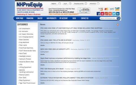 Screenshot of Press Page nhproequip.com - News Archive | Automotive Tools and Equipment, Motorcycle Lifts | NHProEquip.com - captured Jan. 28, 2016
