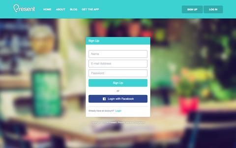 Screenshot of Signup Page presentapp.co - Sign Up - Present : Social Video Diary & Journal App - A VLog Platform - captured Nov. 2, 2014