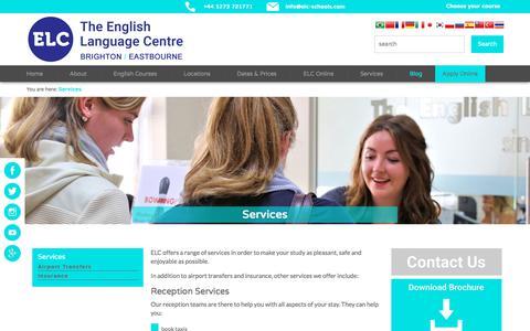 Screenshot of Services Page elc-schools.com - Services | English School in England, UK: ELC Schools - captured July 7, 2018