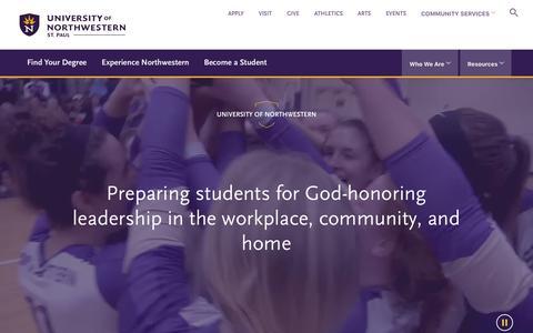 Screenshot of Home Page unwsp.edu - UNW | University of Northwestern - captured March 7, 2018