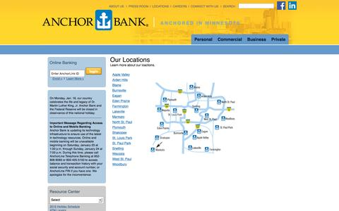 Screenshot of Locations Page anchorlink.com - Community Involvement & Financial Services   Anchor Bank - captured Jan. 17, 2016