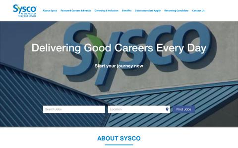 Screenshot of Jobs Page sysco.com - Sysco Careers - captured March 12, 2019