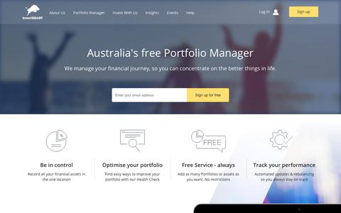 Screenshot of Signup Page investsmart.com.au - Get started with our Portfolio Manager - Portfolio Manager - InvestSMART - captured July 3, 2017