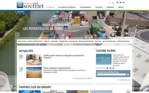 Screenshot of Home Page soufflet.com - Le Groupe - captured Sept. 26, 2018
