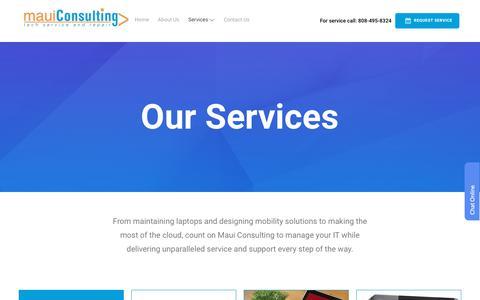 Screenshot of Services Page mauiconsulting.com - Services - Maui Consulting and Tech Service - captured Dec. 8, 2018