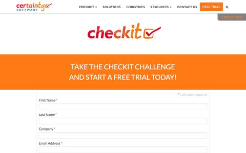 Screenshot of Trial Page certaintysoftware.com - Take the Checkit Challenge and Start a Free Trial Today! - captured July 6, 2018