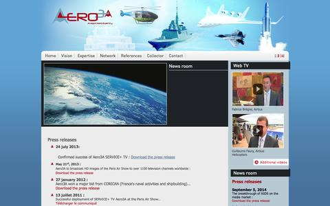 Screenshot of Press Page aero3a.com - Aero3a - captured Oct. 4, 2014