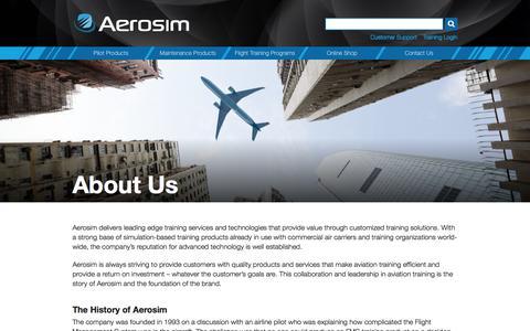 Screenshot of About Page aerosim.com - About Aerosim   Aerosim Technologies - captured Aug. 28, 2016
