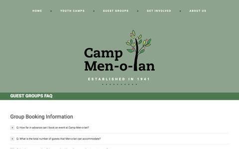Screenshot of FAQ Page menolan.org - Guest Groups FAQ  |  Camp Men-o-lan - captured May 23, 2016