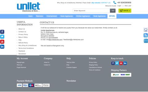 Screenshot of Contact Page Support Page uniletstores.com - Contact Us - captured Feb. 26, 2016