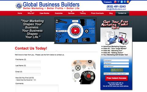 Screenshot of Contact Page gbizbuilders.com - Contact Global Business Builders - captured Oct. 2, 2014