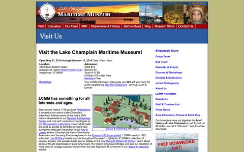 Screenshot of Pricing Page lcmm.org - Visit the Lake Champlain Maritime Museum - captured Oct. 18, 2016