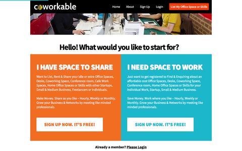 Screenshot of Signup Page coworkable.com - Signup – Coworkable.com - captured Feb. 4, 2016
