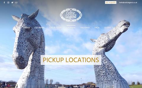 Screenshot of Locations Page celticlegend.co.uk - Pickup Locations - Celtic Legend Travel - captured Sept. 25, 2018