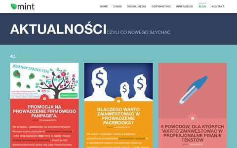 Screenshot of Blog mint-media.pl - Blog MINT | MINT – Marketing Internetowy – prowadzenie fanpage, pisanie tekstów, obsługa Facebook'a, reklama - captured Oct. 3, 2014