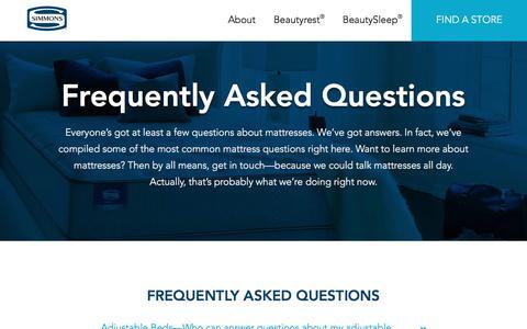 Screenshot of FAQ Page simmons.com - Mattress Information | Learn More | Simmons - captured Sept. 26, 2017