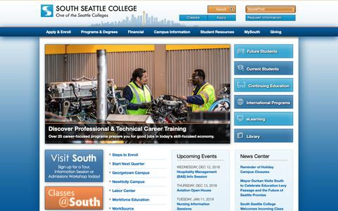 Screenshot of Home Page southseattle.edu - South Seattle College - captured Dec. 12, 2018