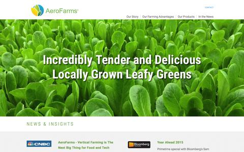 Screenshot of Home Page aerofarms.com - The Commercial Leader in Urban Agriculture and Farming | AeroFarms - captured Dec. 4, 2015
