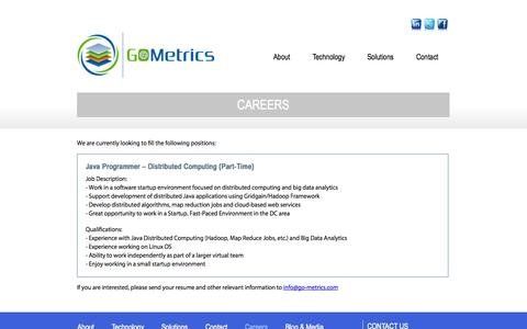 Screenshot of Jobs Page go-metrics.com - Careers - captured Oct. 1, 2014