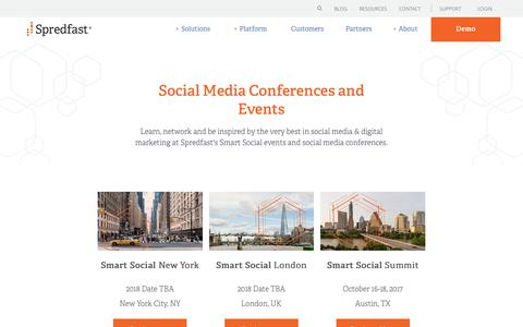 Screenshot of spredfast.com - 2017 Spredfast Conferences and Events | Spredfast - captured Aug. 12, 2017