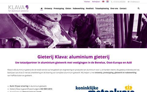 Screenshot of Home Page klava.nl - Gieterij Klava: aluminium gieterij, specialist in gietwerken - captured Sept. 20, 2018