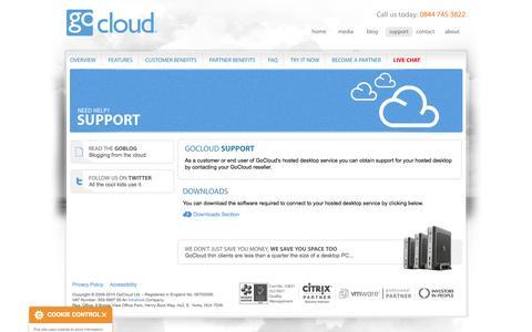 Screenshot of Support Page gocloud.co.uk - GoCloud hosted desktop support - GoCloud - captured Oct. 3, 2014