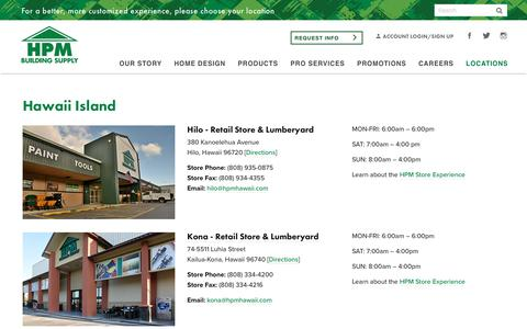 Screenshot of Locations Page hpmhawaii.com - Locations | HPM Building Supply | Home Plans, Materials - captured Sept. 25, 2018