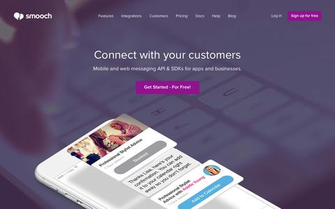 Screenshot of Home Page smooch.io - Smooch: Connect with your customers - captured Feb. 26, 2016