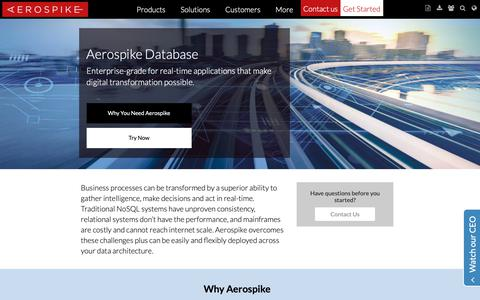 Screenshot of Products Page aerospike.com - Aerospike Database Platform | Aerospike - captured Nov. 22, 2018