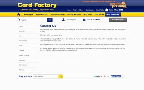 Screenshot of Contact Page cardfactory.eu.com - Welcome To Card Factory | Contact Us - captured Oct. 22, 2014