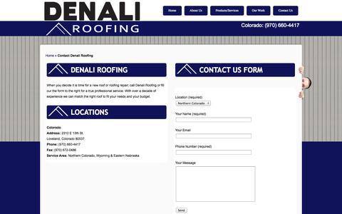 Screenshot of Contact Page denaliroofs.com - Contact Denali Roofing | Denali Roofing - captured Oct. 5, 2014