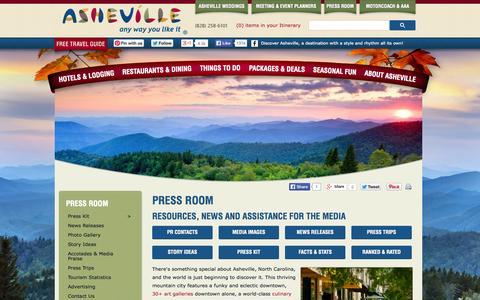 Screenshot of Press Page exploreasheville.com - Press Room | Asheville, NC's Official Tourism Web Site - captured Sept. 25, 2014